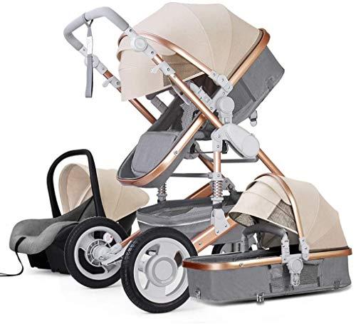 YZPTD 3 en 1 Sistema de Viaje Cochecito de bebé, arnés de 5 Puntos y Canasta de Alto Almacenamiento, Cochecito de Cochecito, Silla para bebés y recién Nacidos (Color : E)