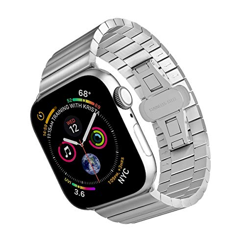 ARTCHE Stainless Steel Replacement Watch Band Compatible with Apple Watch 42mm 44 mm Men Strap Bracelet, Adjustable Sport Wristband Belt for iWatch Series 5/4 / 3/2 / 1 - Silver