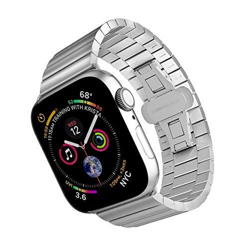 ARTCHE 44 mm 42 mm Cinturino per Apple Watch da in acciaio inox, cinturino di ricambio per orologio da polso regolabile, compatibile con iwatch Series 6 SE 5 4 3 2 1, Argento