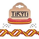 Cinta 5 metros bandera España – para pulseras hombre y mujer, manualidades, decoración - incluye 15 cuentas cierre - Lazo rojo y amarillo 5Mx1CM