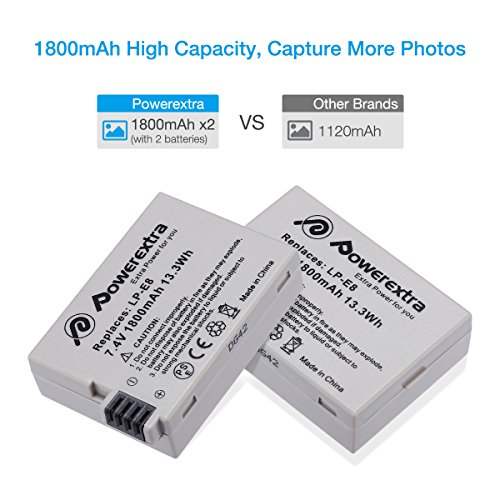 Powerextra 2 Pack Replacement Canon LP-E8 Battery and Smart LCD Display Dual USB Charger for Canon Rebel T3i T2i T4i T5i EOS 600D 550D 650D 700D Kiss X5 X4 Kiss X6 Digital Camera