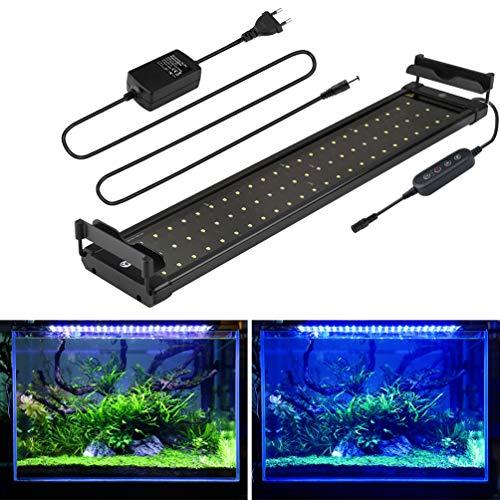 Aquarium LED Beleuchtung, mit Timer, Dimmbare Aquariumbeleuchtung Lampe Weiß Blau Licht 11W mit Verstellbarer Halterung für 50cm-70cm Aquarium