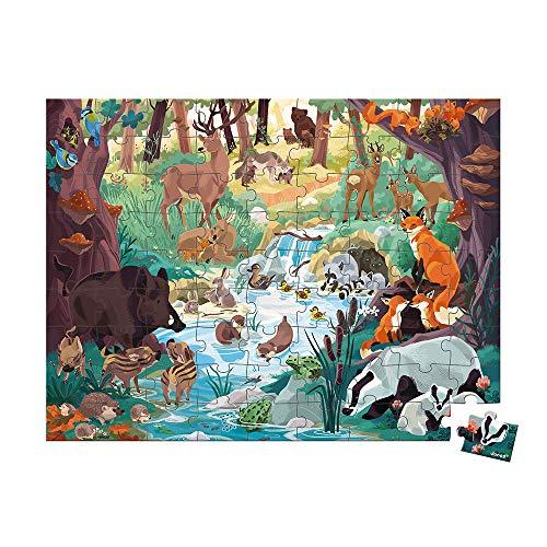 Janod  Huellas de Animales   Puzzle Infantil de 81 Piezas   Juego Educativo Asociación WWF   Cartón Certificado FSC   A Partir de 6 años ( J08628)
