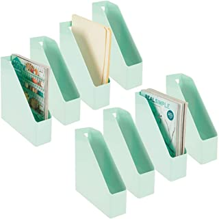 mDesign Plastic File Folder Bin Storage Organizer - Vertical with Handle - Holds Notebooks, Binders, Envelopes, Magazines - Container for Home Office and Work Desktops - 8 Pack - Mint Green