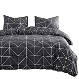 Wake In Cloud - Dark Gray Comforter Set, 100% Cotton Fabric with Soft Microfiber Fill Bedding, Grey with White Geometric Pattern Printed (3pcs, Queen Size)