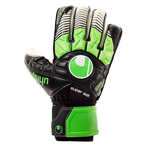 uhlsport Herren Eliminator Supersoft RF Torwart-Handschuhe, schwarz/Fluo grün/Weiß, 7.5