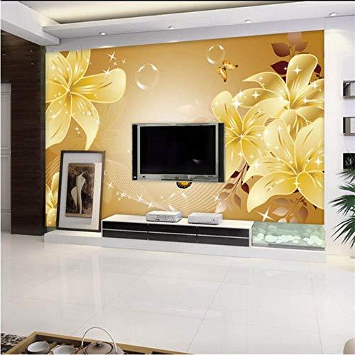 LYBSSG Papel pintado personalizado 3d murales grandes hermoso romántico lirio dorado TV decoración de pared pintura-250x175cm