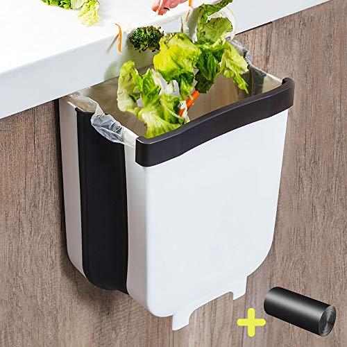 AYADA Cubo de Basura Colgante para Cocina Plegable - 9L, Papelera Cocina Reciclaje Alta Capacidad Bote de Basura de Plástico para Puerta (Blanco)