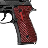 EXEL G10 Grips for Beretta 92/96, Super Slim Full Size, Wave Texture,Cherry Color G10, Cool Hand B92-7-6