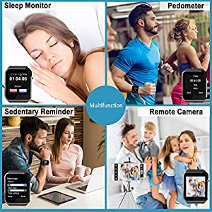 iFuntecky Smart Watch,Smartwatch for Android Phones,Smart Watches Touchscreen with Camera Bluetooth Watch Cell Phone with Sim Card Slot Compatible Samsung Ios Phone 12 12 Pro 11 10 Men Women