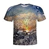Internet-Camiseta de Manga Corta con Estampado de árbol Muerto en la Naturaleza de Wilderness 3D(Negro M-3XL)