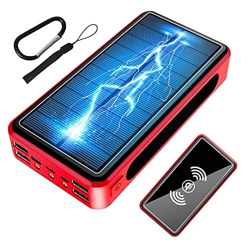 Cargador Solar Portátil 50000mAh, Batería Externa Movil [4 Entradas y 6 Salidas] Power Bank Solar USB C 22.5W Carga Rapida de Gran Capacidad Banco de Energía para iPhone Samsung Huawei Tableta,Rojo