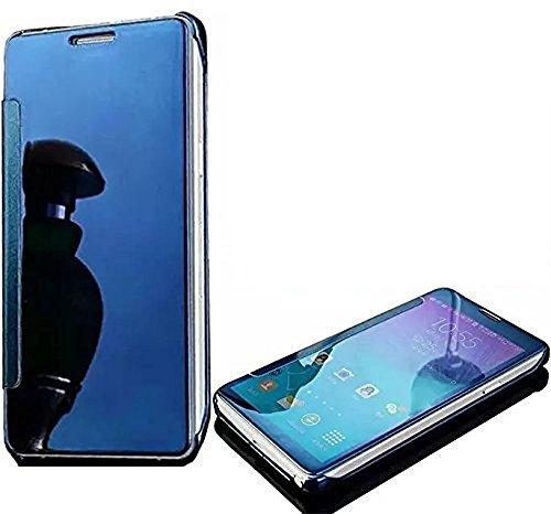 SevenPanda für Huawei P9 Lite 2017 Case, P8 Lite 2017 Hülle Ultra Slim Full Body Ständer Abdeckung Clear View Plating Spiegel Handyhülle Metall Galvanisieren Überzug PC Tasche Schale - Blau