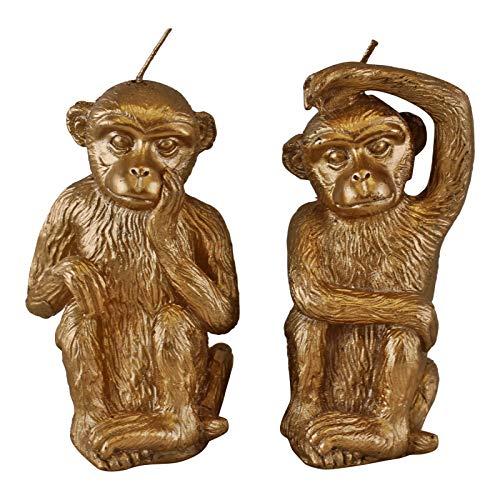 EliteKoopers - Set di 2 candele a forma di scimmia dorate per la casa e l'ufficio