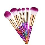 FAMKIT Juego de 6 brochas de maquillaje Colorful para contorno, corrector de colorete en polvo, herramienta de cosméticos