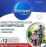 Steripan 12 Lingettes Désinfectantes Action Bactéricide/Fongicide Sachets Individuels sans Rinçage