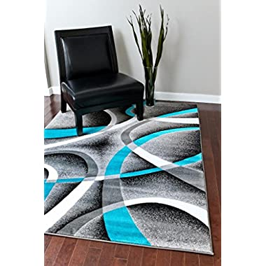 2305 Turquoise White Multi 6-feet 5-inch By 9-feet 2-inch Modern Area Rugs Mo...