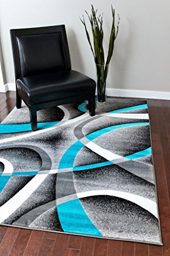 Persian Area Rugs Turquoise 8x11 2305 White Swirls 7'10 x10'6 Modern Abstract Area Rug, 8' x 11'