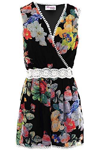 Fantasia Boutique Femmes sans Manches Enveloppant V Cou Floral Crochet Dentelle Mousseline Doublé Combishort Barboteuse - Noir, 38