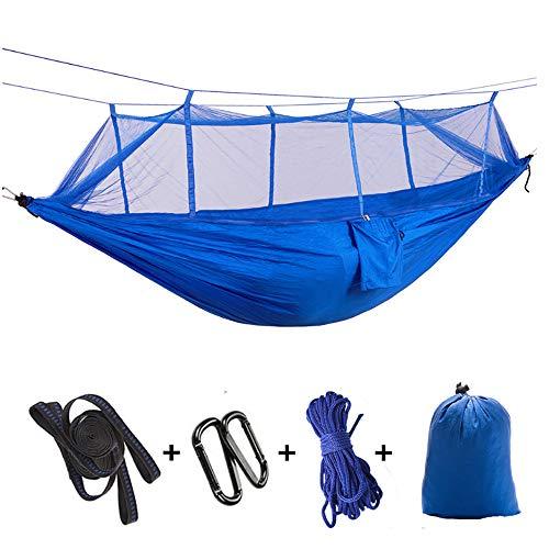 MDZZ Camping Hamac Double et Simple, Léger en Nylon Hamacs Parachute pour Adultes Enfants Randonnée Voyage avec des Sangles et mousquetons Arbres Inclus,Bleu