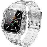 Compatible for Apple Watch Band 40mm 38mm with Protective Case, Men Women Crystal Clear Sporty Protective Drop-Proof Shockproof Case with Premium Soft Fadeless TPU Adjustable Strap Bands for iWatch Series 6/5/4/3/2(Transparent)