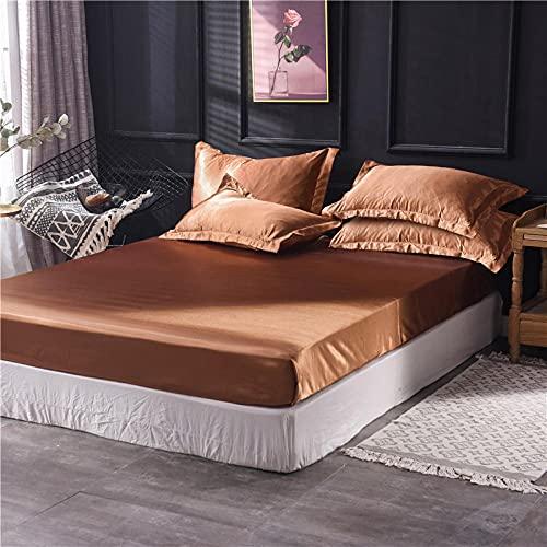XGguo Protector de colchón - óptimo antiácarosSábana de Cama Pure Color Full Covered Bed Cover-Coffee_180x200cm