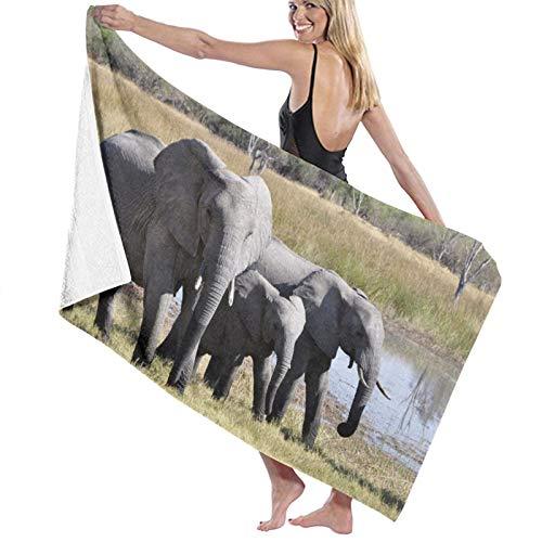 Bath Towel,80X130Cm Elephant Africa Okavango Delta Animal Safari Bath Towels Super Absorbent Beach Bathroom Towels For Gym Beach Swm Spa