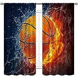 Cinbloo Boys Basketball Curtains Sports Men Rod Pocket Kids Fire Ball Flame Splashing Thunder Lightning Cool Art Printed Living Room Bedroom Window Drapes Treatment Fabric 2 Panels 42 (W) x 63(L) Inch