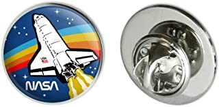 NASA Logo Over Space Shuttle with Rainbow Metal 0.75