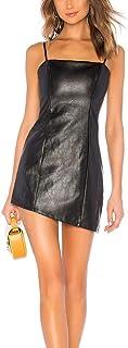 JLCNCUE Spaghetti Straps Mini PU Latex Dress Women Sexy Leather Bodycon Mini Cocktail Club Party Dresses 71932