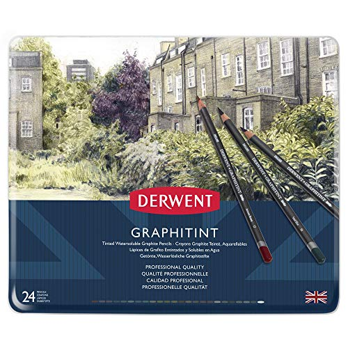 Derwent Graphitint Pencils, Metal Tin, 24 Count (0700803)