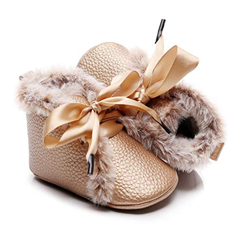 Bebila Winter Toddler Snow Boots - Lace up Baby Girls Boys Shoes Lace up Non-Skid Soft Sole Slippers Newborn Warm Ankle Fur Booties for Infant Newborn First-Walkers (3-6 Months, Gold)