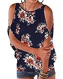 YOINS - Blusa informal de verano con los hombros descubiertos, cuello escotado, cierre anudado y estampado floral para mujer Floral-b-azul marino S