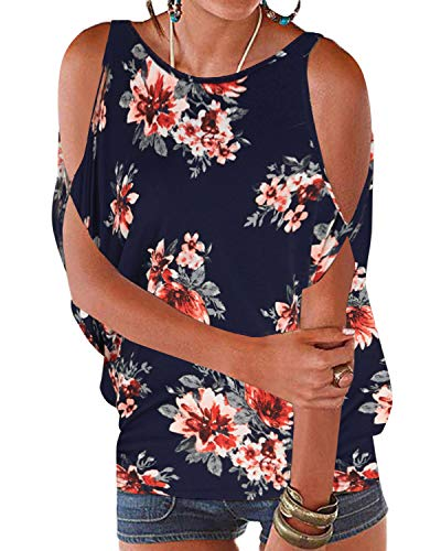 YOINS Camiseta Casual con Hombros Descubiertos para Mujer Sexy Blusas Top Estampado con Cuello Redondo