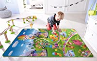 Material :Polyester with foam filling Versatile: Reversible; Both sides different print Soft floor surface for babies and children to play on Comes in different sizes: 120x180 CM/ 4x6 Feet For outdoor picnic and camping. Water proof and easy to clean...