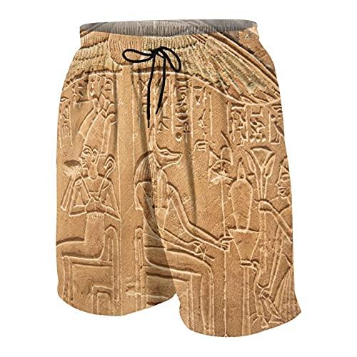 SUHOM De Los Hombres Casual Pantalones Cortos,Jeroglíficos egipcios en la Pared Guiones de Superficie de Piedra Imagen de Tema de Artes Antiguas,Traje de Baño Playa Ropa de Deporte con Forro de Malla