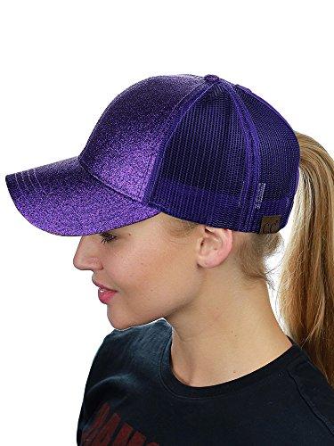 C.C Ponycap Messy High Bun Ponytail Adjustable Glitter Mesh Trucker Baseball Cap, Purple