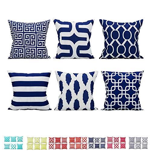 Comoco 6er Set Zuhause Kissenbezug Leinen aus Baumwolle Neue Living-Serie dekorativ Dekokissenbezug Kissenbezug 18