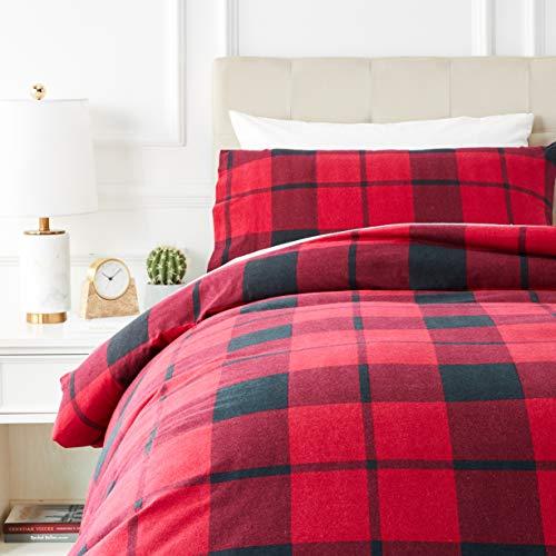 Amazon Basics - Juego de cama de franela con funda nórdica - 135 x 200 cm/50 x 80 cm x 1, Tartán rojo