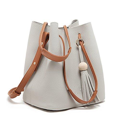 Turelifes Tassel buckets Totes Handbag Women's casual Shoulder Bags Soft Leather Crossbody Bag (Gray)