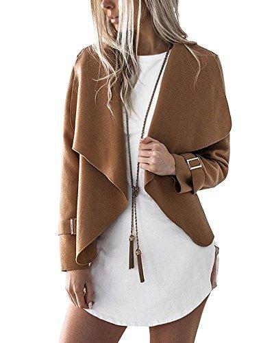 Tomwell Damen Herbst Schlank Jacke Turndown Kragen Trenchcoat Mantel Langärmlig Cardigan Outwear Kaffee DE 34