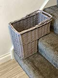 Home Delights Gorgeous Grey Wicker Staircase Organiser Basket Rustic Rattan Shabby Chic Key Holder Shoe Storage Mrs Hinch Style