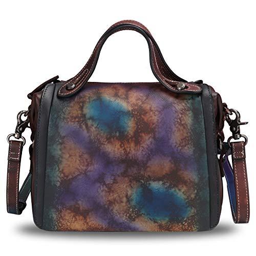 Genuine Leather Satchel Purse for Women Retro Handmade Top Handle Handbag Designer Crossbody Bag (Multicolor4)