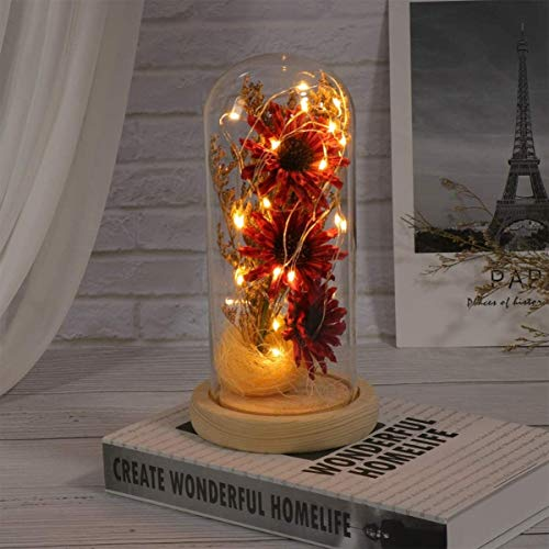 Tcg Bright Colors and Safety Lights Led Fairy Lights,Sunflower in A Glass Dome with LED Lights,for Birthdays, Parties, Performances, Restaurants, Simple Furniture Decoration