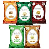 Quevos Egg White Chips - The Original Low Carb Egg Crisps, Crunchy Flavorful Protein & High Fiber Snacks, Keto Snacks, Diabetic & Atkins Friendly, Gluten Free, Protein Crisp, Low Carb Chips - Variety Bundle, 1 Oz Bags (Pack of 5)
