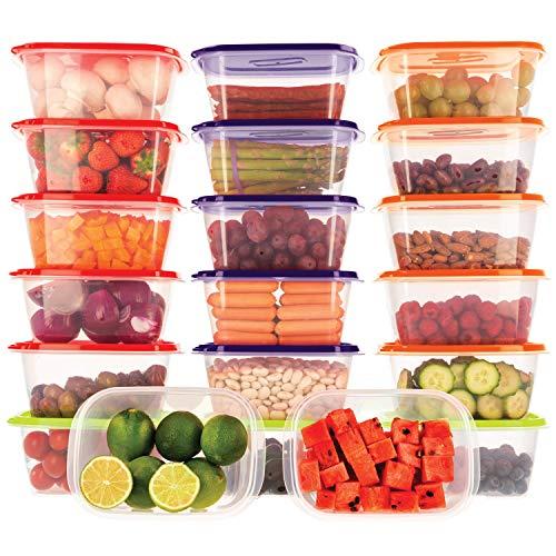 Frischhaltedose Set aus 20 Stück x 1L BPA-freiem Plastik, Aufbewahrungsbox mit Farbigen Deckeln, Brotdose, Aufbewahrung & Organisation, Gefrierschrank Organizer, Lunchbox, Aufbewahrung Küche