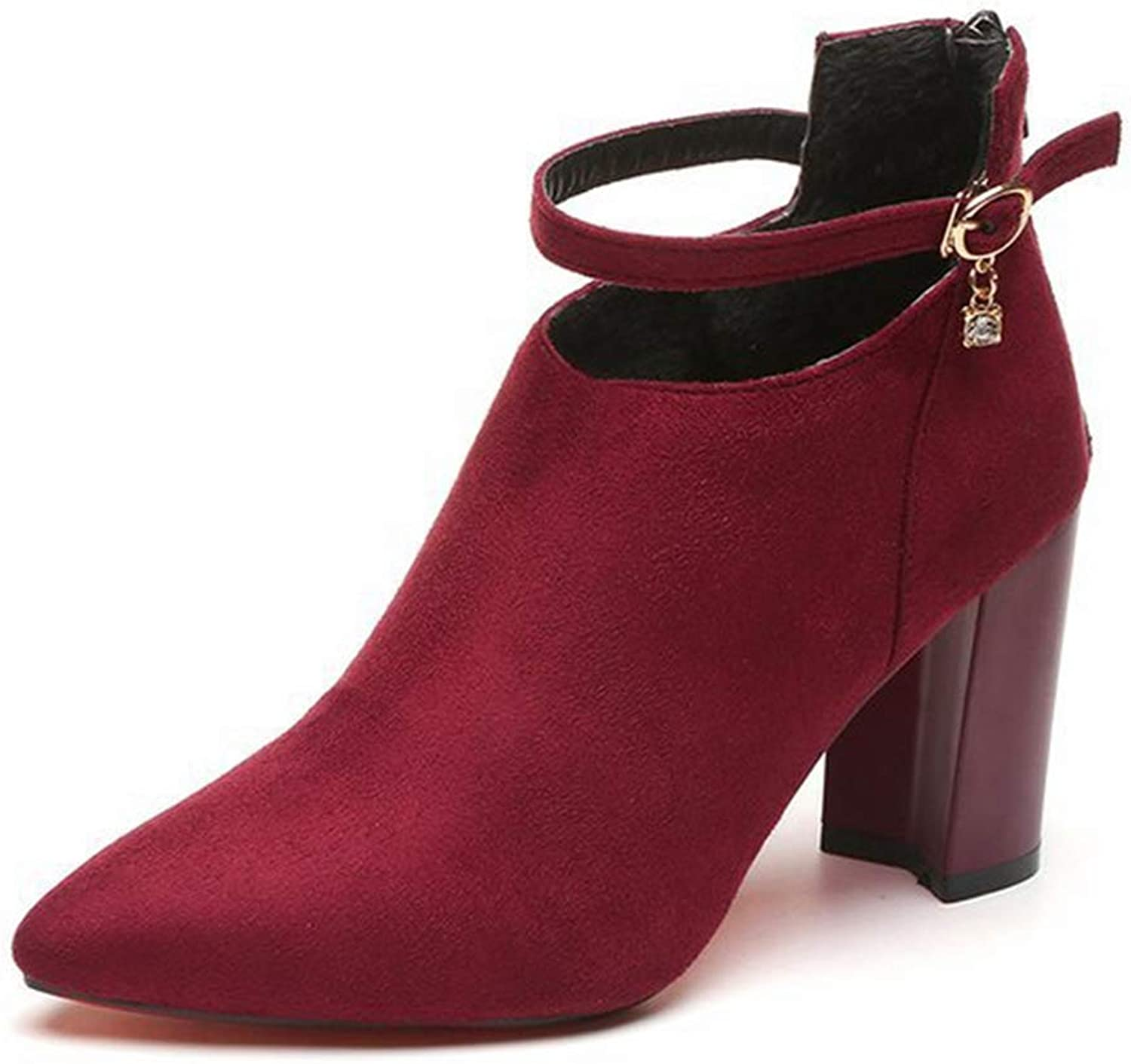 Winter Ankle Boots Women Pointed Toe High Square Heels Buckle Zipper Solid Fashion shoes for Female