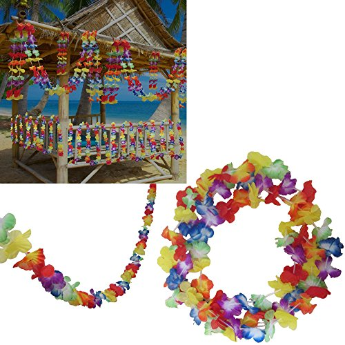 Multi Colored Hawaiian Luau Tropical Flower Lei Garland Party Decorations. Set Of 3 10' Hibiscus Flower Garlands a total of 30 Feet - 9 Meters. Hawaiian Luau Tropical Party Supplies.