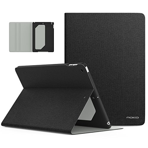 MoKo Case Fit 2018/2017 iPad 9.7 6th/5th Generation - Premium Light Weight Shock Proof Stand Folio Cover Protector Compatible with iPad 9.7 Inch 2018/2017, Ash Black(Auto Wake/Sleep)