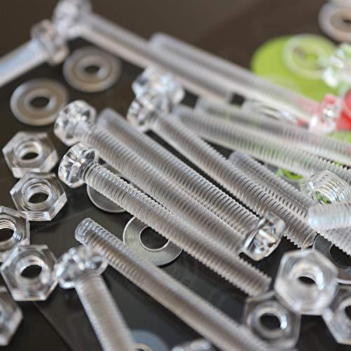 Paquete de 60 tornillos y tuercas, Arandelas, transparentes, de plástico acrílico. M3...